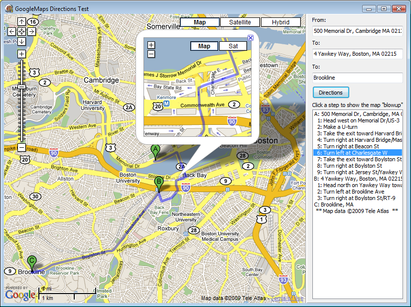 Google Maps in a TWebBrowser from Delphi: Directions | Ramblings on